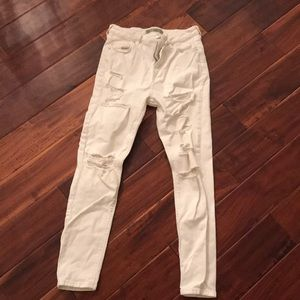 Top shop ripped high waisted white jeans